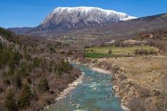 Mount Turbon and the Isabena River Stock Photos