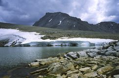Mount Tyndall in High Sierra in stormy weather Royalty Free Stock Images