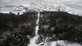 Mount Ulriken. Descend by cable car from Mount Ulriken in Bergen  Norway stock video