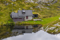 Mount Ulriken. House by lake on Mount Ulriken Stock Photo