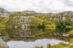Mount Ulriken. Lake view and reflection Royalty Free Stock Photography