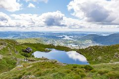 Aerial view on the mountain lake and town by the fjords. royalty free stock photos