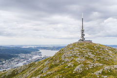 Mount Ulriken. Telephone mast at mount Ulriken Royalty Free Stock Photos
