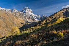 Mount Ushba, Svaneti in the autumn Stock Photo