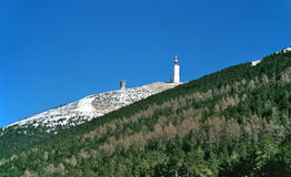 Mount Ventoux. Is the highest peak in Provence and is often part of the Tour de France cycle race. The telecommunications mast on it's peak can been seen around Stock Photography
