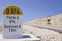 Mount Ventoux, cycling to the top. France. Cycling at Mount Ventoux, Provence. France Royalty Free Stock Image