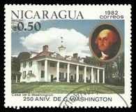 Mount Vernon. Nicaragua - stamp 1982: Color edition on 250th Aniversary of George Washington, shows Mount Vernon Stock Image