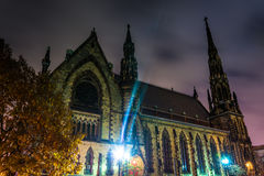 Mount Vernon Place United Methodist Church at night in Baltimore Royalty Free Stock Photo