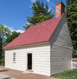 Mount Vernon Washington. A yellow wood house with a brick chimney in the farm of Mount Vernon, Virginia Stock Image