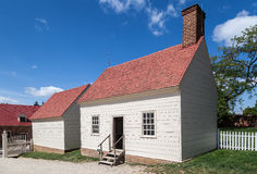 Mount Vernon Washington. A yellow wood house with a brick chimney in the farm of Mount Vernon, Virginia Royalty Free Stock Photography