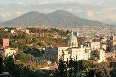 Mount Vesuvius. View of Mt.Vesuvius, an active volcano in Naples, with the church Madre del Buon Consiglio Stock Photos