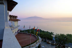 Mount Vesuvius and Bay of Naples. As seen from the hotel roof in the early morning Stock Images