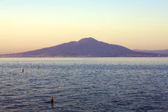 Mount Vesuvius and Bay of Naples at sunrise. Photographed from the mountains of Sorrento royalty free stock photo