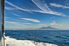Mount Vesuvius from a boat royalty free stock photo