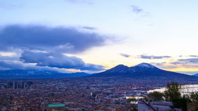 Mount Vesuvius. Dawn over Naples. Time Lapse