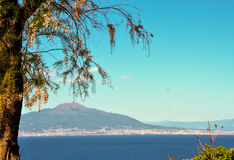 Mount vesuvius and gulf of Naples seen from Sorrento. Naples gulf and mount vesuvius seen from Sorrento Stock Photo
