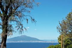 Mount vesuvius and gulf of Naples seen from Sorrento. Naples gulf and mount vesuvius seen from Sorrento Royalty Free Stock Images