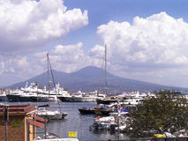 Mount Vesuvius from the Harbour in Naples Italy Royalty Free Stock Images