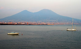 Mount Vesuvius and Naples city with boats panorama Stock Photography
