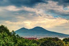 Mount Vesuvius near Naples. Mount Vesuvius under a dramatic sky near Naples, Italy royalty free stock image