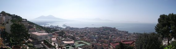 Mount Vesuvius Panoramic. The picture was taken in Naples from the hill of Vomero Royalty Free Stock Images