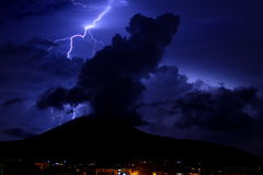 Mount Vesuvius. A thunderbolt over the Mount Vesuvius Royalty Free Stock Images