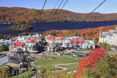 Mount, village and Lake Tremblant in autumn, Quebec Stock Photos