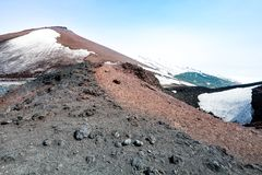 Mount volcano Etna, volcanic crater with snow. Sicily, Italy. Royalty Free Stock Image