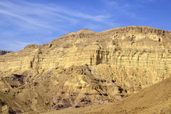 Mount wall of Small Crater in Negev desert. Royalty Free Stock Images