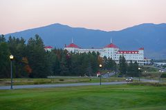 Mount Washington Hotel, New Hampshire, USA. Mount Washington Hotel in summer, Bretton Woods, New Hampshire, USA. This Hotel hosted the Bretton Woods monetary Royalty Free Stock Photos