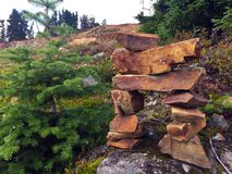 Inuksukat the top of Mount Washington, BC Royalty Free Stock Image