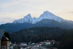 Mount Watzmann Berchtesgaden. Mount Watzmann view from the town of Berchtesgaden Royalty Free Stock Photos