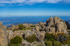 Stunning summit of Mount Wellington overlooking Hobart and the southern Tasmania coast stock images