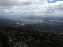 Mount Wellington, Hobart, Tasmania. View from the summit of Mount Wellington, Hobart, Tasmania, Australia Stock Images