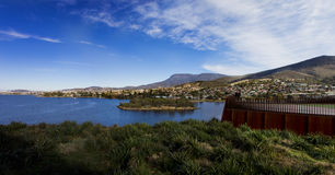 Mount wellington from the mona. The view of mount wellington towering over hobart as seen from the mona Royalty Free Stock Photo