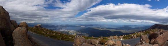 Mount wellington tasmania. Panorama from mount wellington looking down on hobart tasmania australia Royalty Free Stock Photo