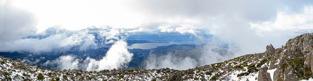Mount Wellington Tasmania Panorama. A panoramic view on top of Mount Wellington in Tasmania. Hobart City can be seen in the background Stock Image