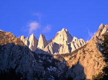 Mount Whitney. Mountain peaks and clouds in California.  Mount Whitney is the tallest mountain in the lower 48 states Stock Image
