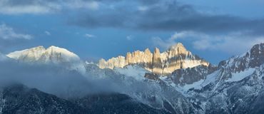 Mount Whitney Morning Sun Panorama royalty free stock images