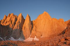 Mount Whitney At Sunrise. Mount Whitney and Keeler Needle lit up by the first light of dawn stock photos