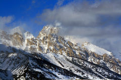 Mount Woodring of the Grand Tetons Peaks shrouded in clouds in Grand Tetons National Park Stock Images