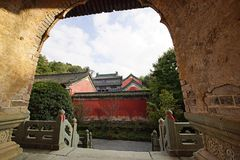 Mount Wudang, China: ancient buildings. Mount Wudang, situated in Shiyan City, Hubei Province, China, was the center of China Taoism.nThe ancient buildings in Stock Image