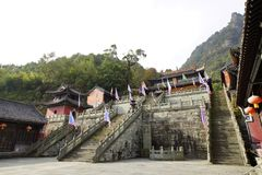 Mount Wudang, China: ancient buildings. Mount Wudang, situated in Shiyan City, Hubei Province, China, was the center of China Taoism.nThe ancient buildings in Royalty Free Stock Images