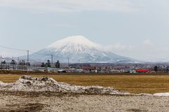 Mount Yotei inactive stratovolcano with village on the foot hill and yellow grass on the ground with pile of snow on foreground Royalty Free Stock Photo
