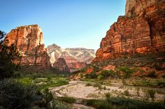 Rocky Peaks in Mount Zion. Mount Zion National Park, Utah. Morning sun shines on the red rock royalty free stock images