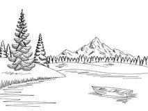 Mountain湖图表黑白色风景剪影例证传染媒介 免版税库存图片
