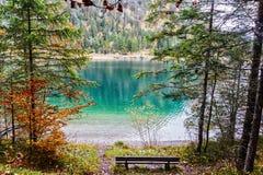 Mountain湖在一个五颜六色的秋天森林里 库存图片