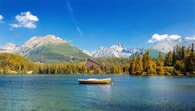 Mountain湖在国家公园高Tatras, Strbske普莱索,斯洛伐克,欧洲 免版税图库摄影