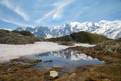 Mountain湖在阿尔卑斯 图库摄影