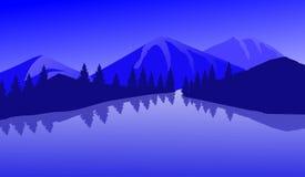 Mountain湖平的风景例证艺术 库存照片